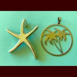 Jewelry - Sterling Starfish & Stainless Steel Palm Pendants